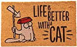 SimonS Cat - Felpudo, diseño con Texto Life is Better with a Cat