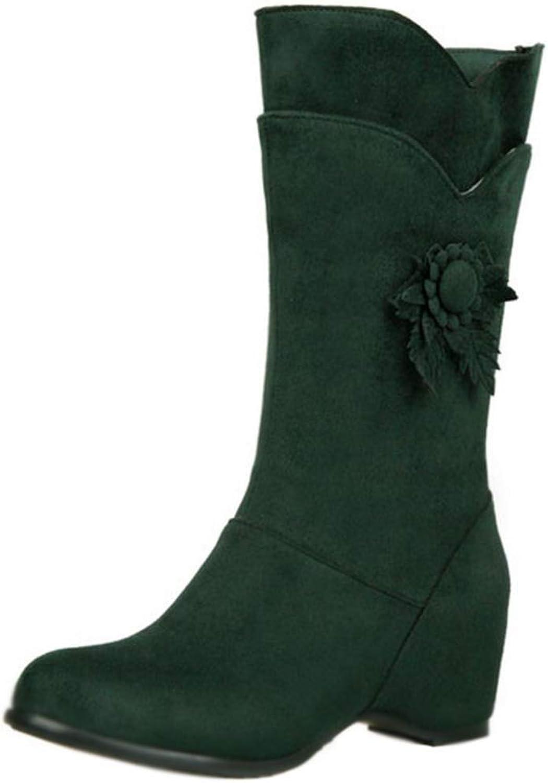 Unm Women's Fashion Hidden Heels Half Boots Flower