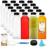 SUPERLELE 16oz 20pcs Empty PET Plastic Juice Bottles Reusable Clear Disposable Containers with Black Tamper Evident Caps Lids for Juice, Milk and Other Beverages