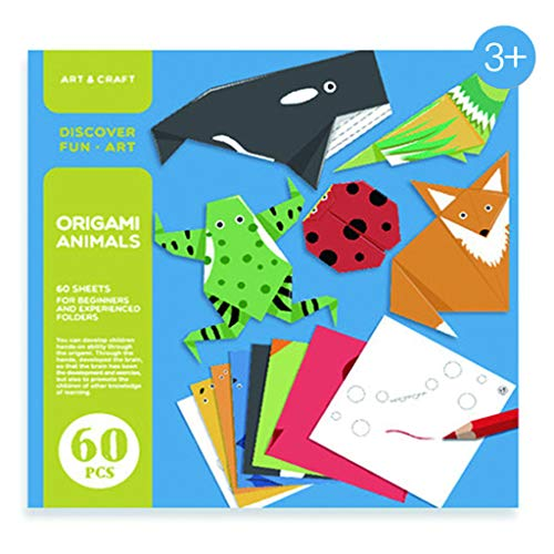 N/Q Fun And Creative Children'S Origami Book,3d Handcraft Paper Papercraft Model for Kids 3-10 Beginners Parent Child Game Children Gift (60 Sheets),animal world