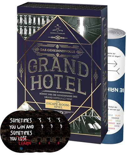 Collectix Das misterioso Grand Hotel | Escape Spiel Deluxe | Reutilizable | Nivel: principiante, a partir de 12 años + 4 pegatinas de salida + 1 póster de ilusión óptica.