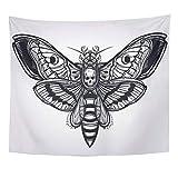 Semtomn Tapestry Deaths Head Hawk Moth Silhouette Tattoo Elegant Vintage Dark Home Decor Wall Hanging for Living Room Bedroom Dorm 50x60 Inches