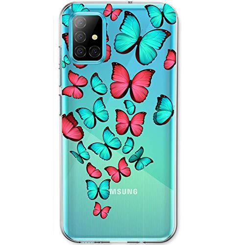 Funda para Samsung A51 / A51 5G Clear Silicona Ultra Delgado Anti Choque Carcasa Galaxy A51 Flor Mar Paisaje Mariposa Geometría Patrón Estuche A51 5G Suave Gel TPU Caja (A51, 16)