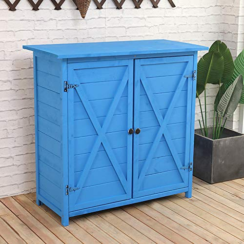 Wooden garden shed outdoor tool locker, double-door patio balcony with 3 partitions, waterproof sunscreen sundries storage cabinet, used for lawn care equipment, swimming pool supplies