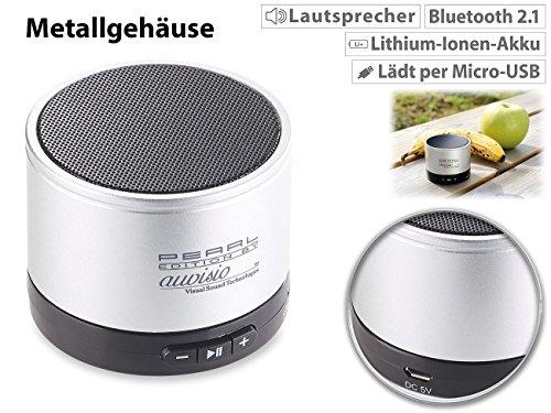 auvisio Mini Lautsprecher: Mobiler Aktiv-Lautsprecher mit Bluetooth 2.1, Metallgehäuse, 4 Watt (Lautsprecher für Handy)