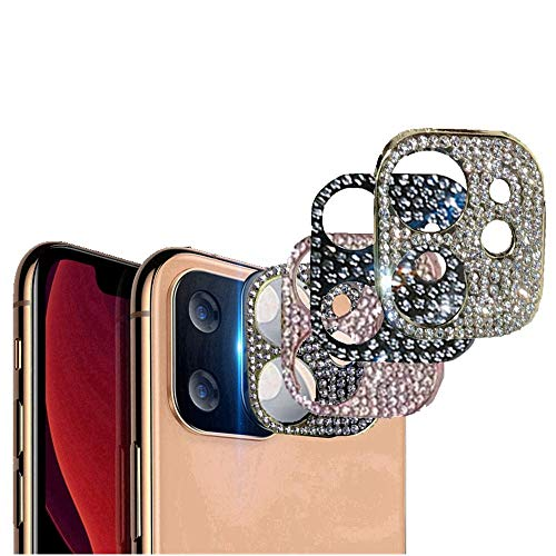 For iPhone 11 Pro Max 3D Bling Diamond Camera Lens Protector Ring Glitter Metal Case Cover, Rear Camera Anti-Fall Decorations Sticker (for iphone11, sliver)