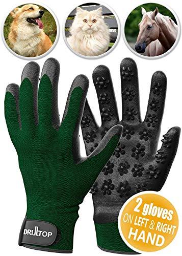 DrillTop All-New 2020 Pet Grooming Glove - Gentle Deshedding Brush Glove - Efficient Pet Hair Remover Mitt - Enhanced Five Finger Design - Perfect for Dog & Cat with Long & Short Fur