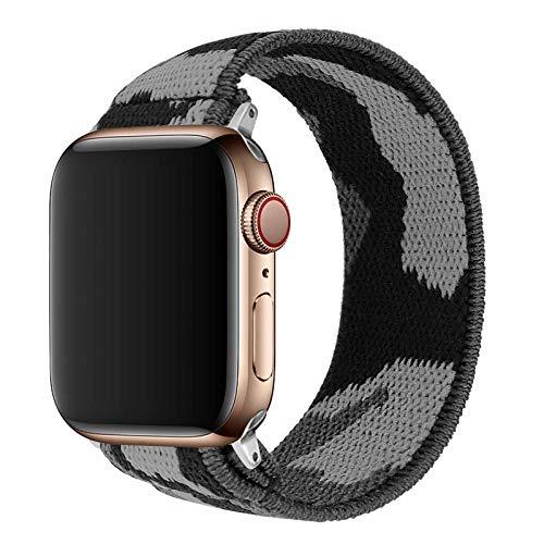TopPerfekt Correa elástica compatible con Apple 42/44 mm, adecuada para iwatch Series SE/6/5/4/3/2/1 correa elástica suave (1 camuflaje, talla L de muñeca: 7-7.5 pulgadas, 42/44 mm)