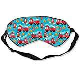 Comfort Soft Sleep Eye Mask Blindfold with Elastic Strap, Breathable 100% Blackout Eye Shade Cover for Night Sleeping, Travel, Nap, Yoga Meditation (Fire Truck and Hero Boys Car)