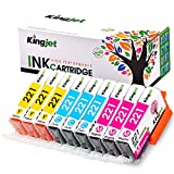 Kingjet Compatible Ink Cartridge Replacement for Canon 221 CLI-221 Work with Pixma IP3600 IP4600 IP4700 MX860 MX870 MP560 MP620 MP620B MP640 MP980 MP990, 9 Pack, (CLI221 Ink: 3C 3M 3Y)