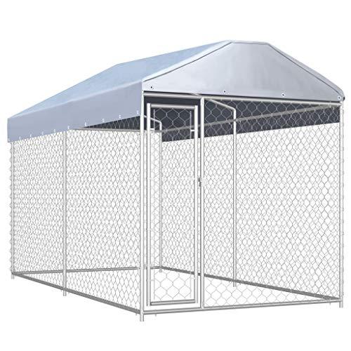 Festnight Outdoor Hundezwinger mit Überdachung Hundehütte Zwinger Hundekäfig Hundehaus Tierlaufstall Freilaufgehege Verschließbares Riegelsystem für Hunde Hundekäfig 382x192x235 cm