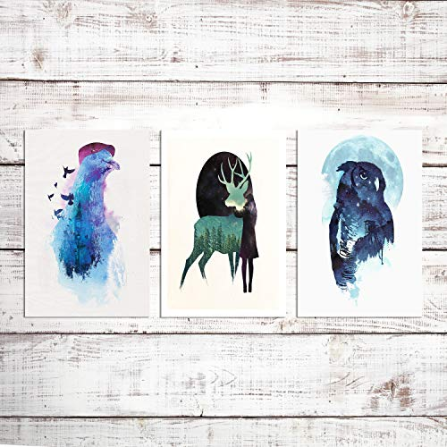 Abstract Eagle Deer Wall Art For Bedroom Painting Canvas Prints Animal Poster Home Decor Artwork (Set of 3) -Unframed- 8x12
