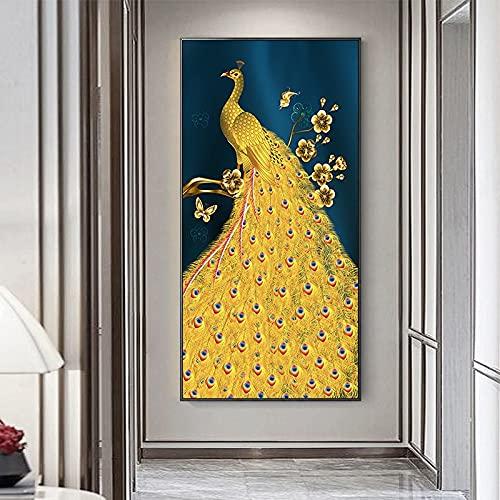 DIY 5D Diamante Pintura Kits Pavo real dorado talla grande Diamond painting por Número Kit Rhinestone Bordado de Punto de Cruz Artes Manualidades Lienzo Pared Decoración Regalo mosaico 80x220cm