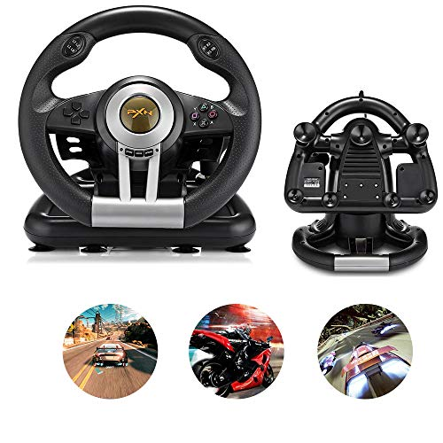 Profession Racing Game Steering Wheel with Brake Pedal for PC, PS3, PS4 and Xbox One