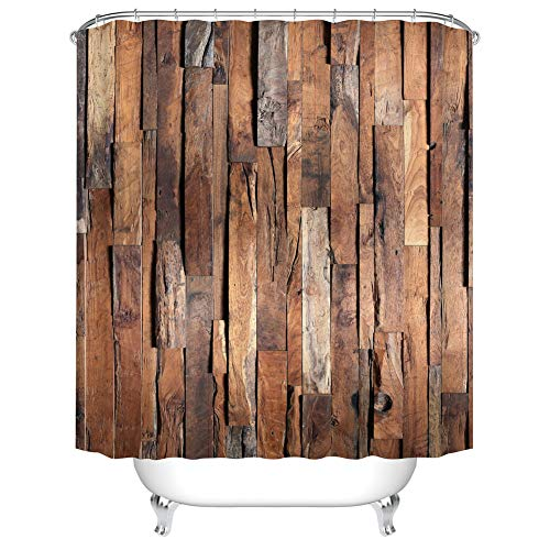 Fangkun Bathroom Shower Curtain Decor Set Wooden Board Decorative Pattern Bath Curtains - Polyester Fabric Waterproof Curtains - 12pcs Shower Hooks - 72 x 72 inches