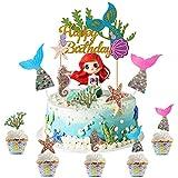 WELLXUNK Sirena Cupcakes Decoración, 32 Piezas Sirena Decoracion Tarta, Sirena Cupcake Toppers,...