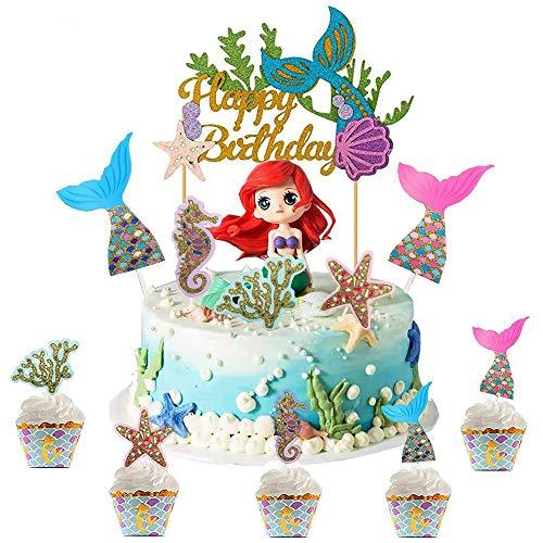 WELLXUNK Happy Birthday Cake Torte Topper, Glitter Geburtstag Kuchen Topper, Happy Birthday tortenstecker, Glitzer Cupcake Topper für Geburtstagsfeier Dekoration (M1)