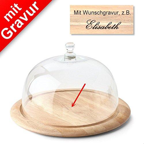 Sterngraf Continenta Käseglocke MIT Gravur (z.B. Namen) 2-TLG. mit Holzunterteller Ø 33 x H 19,5 cm - Käsebrett Käseplatte Holzteller