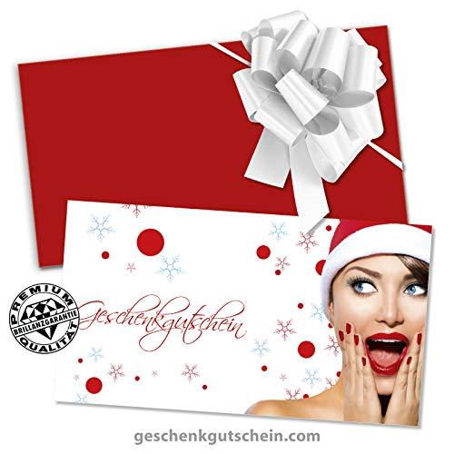 25 hochwertige Gutscheinkarten + 25 Kuverts + 25 Schleifen. Gutscheine für Weihnachten x-max. Weihnachtsmotiv für Kosmetik Nagelstudio. X1271