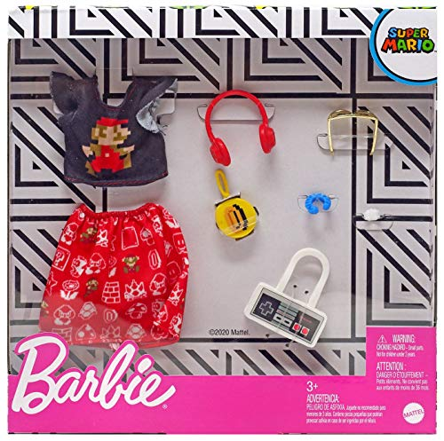 Barbie Storytelling Fashion Pack of Doll Clothes Inspired by Super Mario: Graphic Top, Print Skirt & 6 Video Game-Themed Accessories Dolls, Gift for 3 to 8 Year Olds