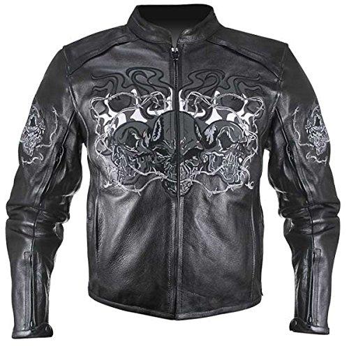 Giacca Motociclista Pelle Nero Cranio Skull Retroriflettenti Biker Custom