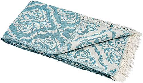 Carenesse Handtuch BAROCK Petrol, Edles und Hochwertiges Doubleface sporttuch Sport Towel Backpacker Towel Camping Towel, 100% Baumwolle, 60 x 100 cm, Reise Handtuch