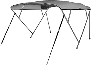 MSC 4 Bow Bimini Top Boat Cover with Rear Support Pole and Storage Boot, Color Grey, Burgundy,Navy,Beige,Pacific Blue,Black,Forest Green Available
