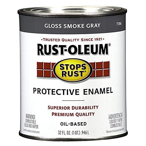 Rust-Oleum 7786502 Stops Rust Brush On Paint, 32 Fl Oz (Pack of 1), Gloss Smoke...