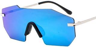 FRGTHYJ - FRGTHYJ Gafas Gafas de Sol Unisex Big Lens One Piece Hombres Hombres sin Montura Metal Hombres Sombras Mujeres Espejo Oro Rosa Azul UV400 Gafas de Sol Gafas Azules para Mujeres