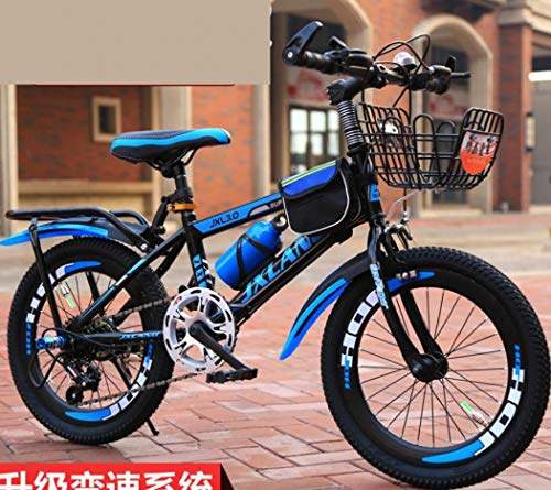 LONGTA Kids Bike with Training Wheels for Ages 6-13 Years Old Boys and Girls, 18/20/22' Mountain Bike Toddler Bike with Handbrake for Children (Black Blue Variable Speed,20 inch)