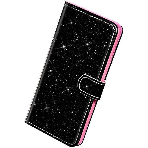 Herbests Kompatibel mit Samsung Galaxy A51 Hülle Schutzhülle Brieftasche Klapphülle Glänzend Bling Glitzer Strass Diamant Leder Handyhülle Flip Case Bookstyle Tasche Kartenfächer,Schwarz