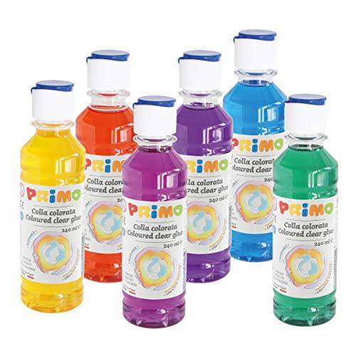 Morocolor PRIMO, Kit Assortito di 6 Colle colorate ad acqua in bottiglia 240ml, Colla colorata senza solventi e senza glutine, Lucida e colorata, Facilmente lavabile, Colla per slime