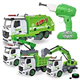 4-in-1 Take Apart Toys with Electric Drill Converts to Remote Control Car Garbage Trucks Waste Management Recycling Truck Toy for Boys