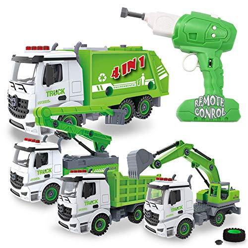 4-en-1 Juguetes para Desmontar con Taladro Eléctrico Que se Convierte en Coche de Control Remoto, Camiones de Basura y Reciclaje para niños
