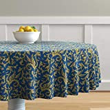 Roostery Round Tablecloth, Gryphon Griffin Blue and Gold Mythology Medieval Scrollwork Dragons Print, Cotton Sateen Tablecloth, 70in