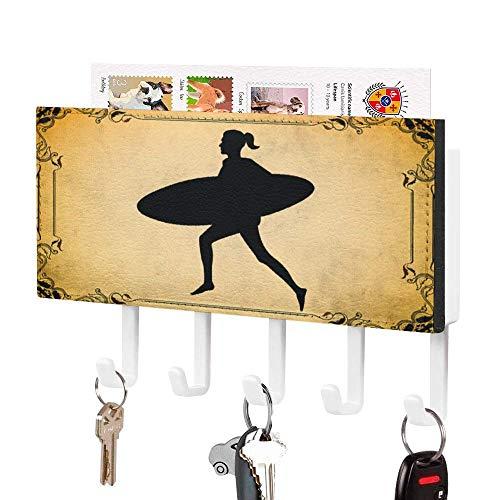 Soporte para llaves, gancho de pared para llaves, silueta deportiva detallada para surf, soporte de correo de entrada, organizador de correo de pared, organizador de llaves decorativo con 5 ganchos