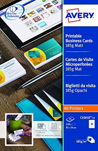 AVERY - Pochette de 250 cartes de visite imprimables, En carte blanche mate 185g/m², Format 85 x 54 mm, Impression laser / jet d'encre, (C32010-25)