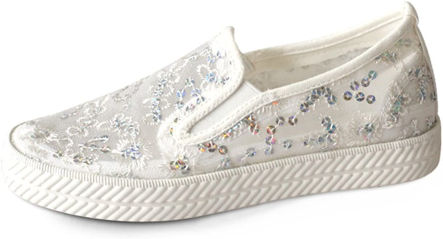Huhuj Wild summer sets foot shoes mesh surface Flat casual lace breathable cool shoes