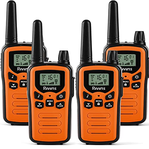 Walkie Talkies for Adults 4 Pack 2-Way Radios 22 Channel Radio VOX Scan LCD Display with LED Flashlight Ideal for Biking Hiking Camping(Orange)