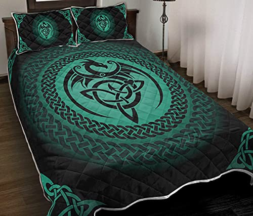 Turquoise Celtic Dragon Quilt Sets King Queen Twin Throw Size - Birthday Bedding Cover Patchwork Wall Hanging Xmas Quilt Gifts (Queen (90x80 inches))