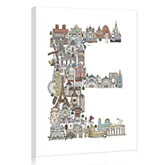 【Original Design】Special E letter shape canvas pictures, famous world buildings print, perfect for your room decor. 【Strong Wooden Bars】The E shape canvas print is firmly stretched on 3cm wide, 2cm deep/thick wooden bars, double sealed with white tap...