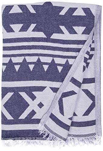 Bersuse 100% Algodon - Cozumel Toalla Turca - Fouta Toalla de Playa y Toalla de Baño - Doble Capa - Diseño Azteca - 100 x 180 cm, Azúl Oscuro