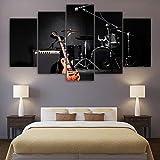 UYEDSR Lienzo 5 Piezas Lienzo Grandes murales Instrumento de Tambor de Guitarra de música Modern Artwork decoración Moderno Sala Decorativos