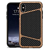 LCHULLE for iPhone 7 Plus iPhone 8 Plus Wood Case with Carbon Fiber Texture Design Hybrid Protection Slim Case for Men Soft TPU Rubber Wood Bumper Shockproof Protective Cover for iPhone 7 Plus/8 Plus