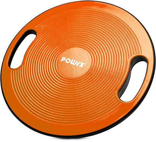POWRX Balance Board inkl. Workout I Wackelbrett Ø 40cm mit Griffen I Therapiekreisel für propriozeptives Training und Physiotherapie versch. Farben Orange