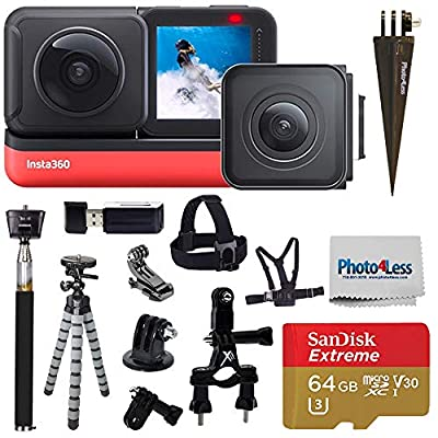 Insta360 ONE R Twin Edition (360 Camera + 4K Wide Angle) + SanDisk 64GB SD Card + Monopod + Chest Strap + Head Strap + Bike Mount - Top Accessory Bundle by Insta360