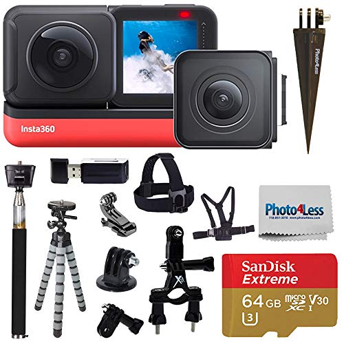 Insta360 ONE R Twin Edition (360 Camera + 4K Wide Angle) + SanDisk 64GB SD Card + Monopod + Chest Strap + Head Strap + Bike Mount - Top Accessory Bundle