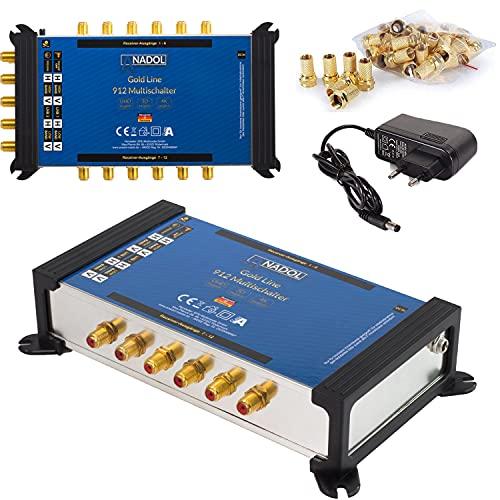 [ Test 2X SEHR GUT *] Anadol Gold Line Multischalter 9/12 für Satellit - Multiswitch für 2 Satelliten und 12 Ausgänge/Receiver - Sat-Verteiler EXT. Netzteil - Satanlage mit 21 F-Stecker