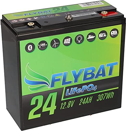 Batería LiFePO4 de 12 V (12,8 V) y 24 Ah, incluye Bluetooth y batería de alimentación CanBus para barco, yate, caravana, etc.