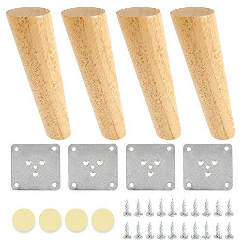 4 Möbelfüße aus Holz, konisch, Tischbeine aus Massivholz, mit Schrauben und Polstern aus Filz und Eisenblättern für Sofa, Bett, Schrank, Möbel (schräg, 20 cm)